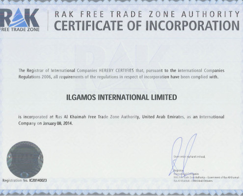 Ilgamos Intl Ltd RAK Certificate of Incorporation download