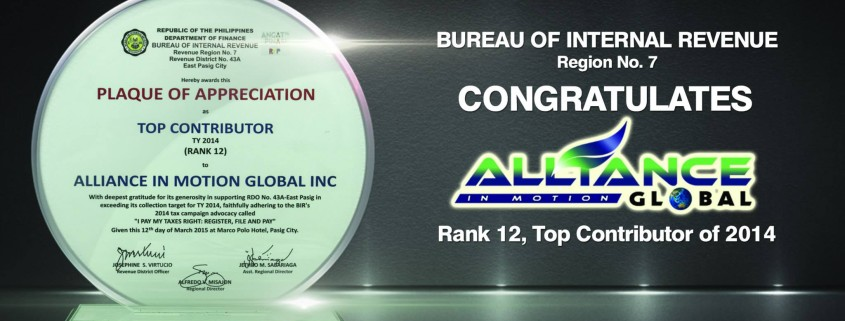 Alliance in Motion Global is BIR Top Contributor of 2014