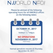 In observance of the All Saints' and All Souls' Day, please be informed of the f...